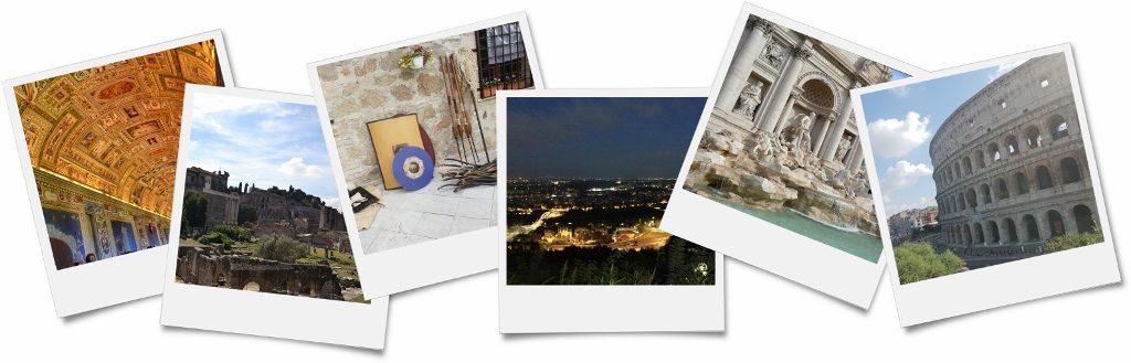 sechs Polaroidbilder vom Betriebsausflug in Rom